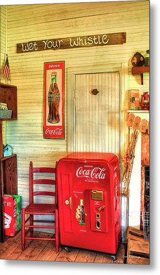 Thirst-quencher Old Coke Machine Metal Print by Reid Callaway