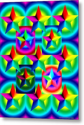 Thirteen Stars With Ring Gradients Metal Print by Eric Edelman