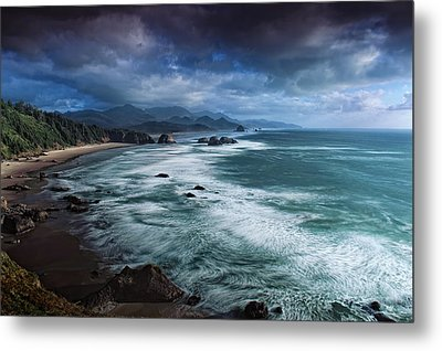 This Is Oregon State No.16 - Cannon Beach Waves Metal Print by Paul W Sharpe Aka Wizard of Wonders