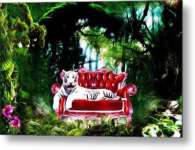 Metal Print featuring the mixed media This Place Is Reserved For The Boss by Gabriella Weninger - David