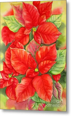 Metal Print featuring the painting This Year's Poinsettia 1 by Inese Poga