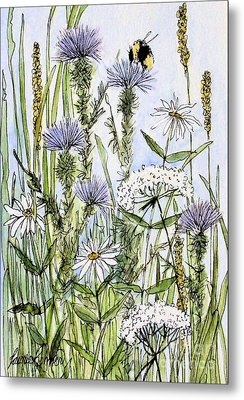 Metal Print featuring the painting  Thistles Daisies And Wildflowers by Laurie Rohner