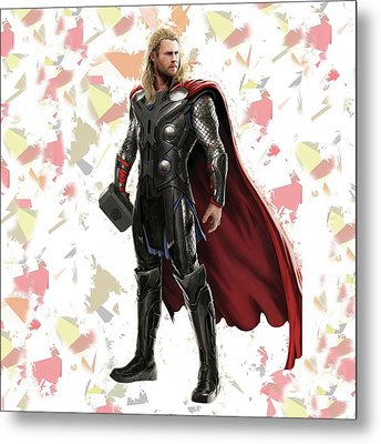 Metal Print featuring the mixed media Thor Splash Super Hero Series by Movie Poster Prints