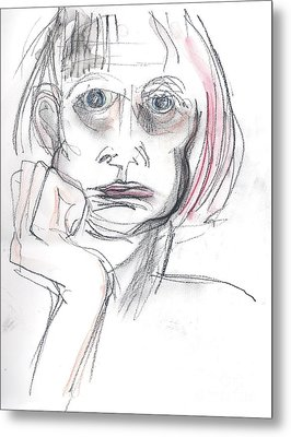 Metal Print featuring the drawing Thoughtful - A Selfie by Carolyn Weltman
