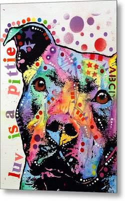 Thoughtful Pitbull Luv Is A Pittie Metal Print by Dean Russo