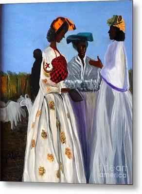 Three African Women Metal Print by Pilar  Martinez-Byrne