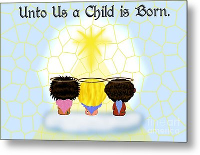 Three Angels Ethnic Metal Print by Chere Lei