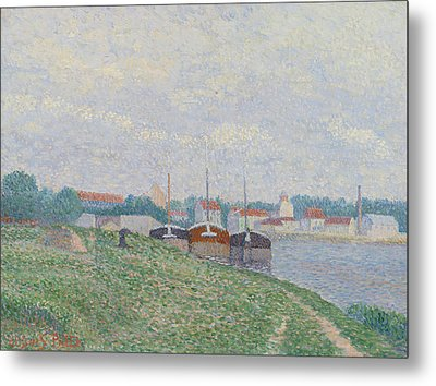 Three Barges Moored On The Edge Of An Industrial City Metal Print