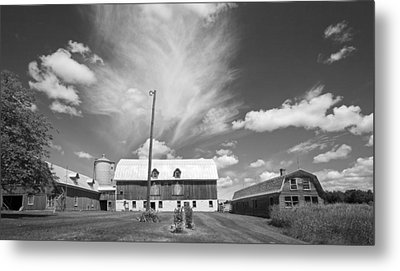 Three Barns With Clouds On Clark Lakes Road Metal Print by Stephen Mack