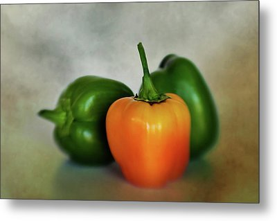 Metal Print featuring the photograph Three Bell Peppers by David and Carol Kelly