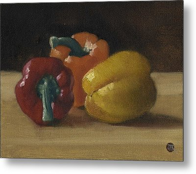 Three Bell Peppers Metal Print by John Reynolds