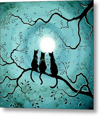 Three Black Cats Under A Full Moon Silhouette Metal Print by Laura Iverson