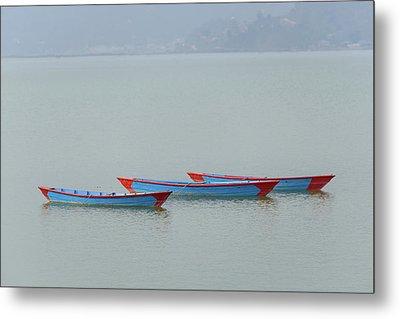 Three Blue Boats On Phewa Lake In Pokhara Metal Print