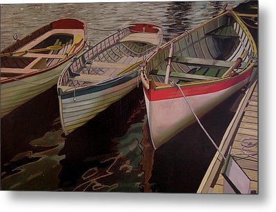 Metal Print featuring the painting Three Boats by Thu Nguyen