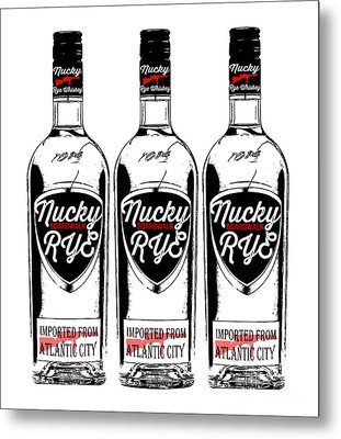 Three Bottles Of Nucky Thompson Boardwalk Rye Whiskey Metal Print by Edward Fielding