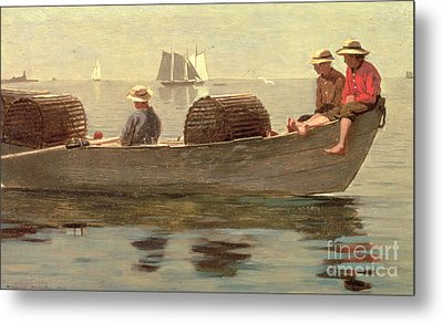 Three Boys In A Dory Metal Print by Winslow Homer