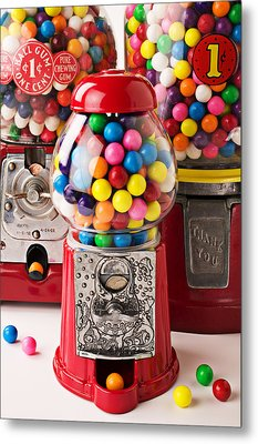 Three Bubble Gum Machines Metal Print by Garry Gay