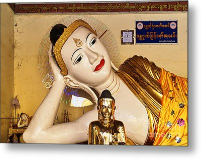 Metal Print featuring the photograph Three Buddhas At Shwedagon Pagoda by Dean Harte
