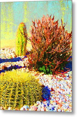 Three Cacti Metal Print by Amy Vangsgard