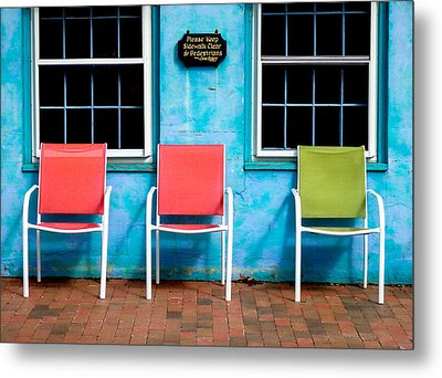 Three Chairs And Two Windows Metal Print by Nancy De Flon