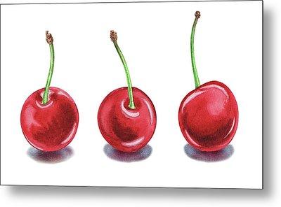 Three Cherries Watercolor Painting Metal Print