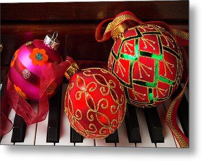 Three Christmas Balls Metal Print