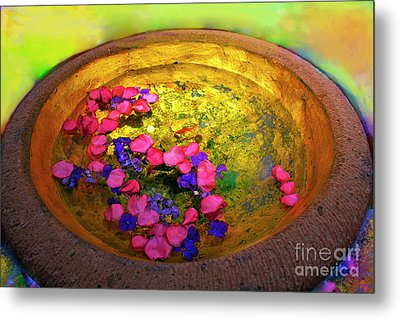 Three Coins In The Fountain With Gold Fish Metal Print by Madeline Ellis
