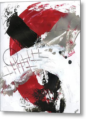 Metal Print featuring the painting Three Color Palette Red 2 by Michal Mitak Mahgerefteh