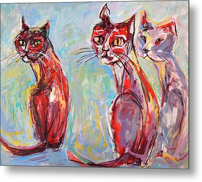 Metal Print featuring the painting Three Cool Cats by Mary Schiros