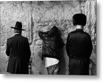 Metal Print featuring the photograph Three Different Selichot Prayers At The Kotel by Yoel Koskas