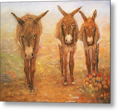 Three Donkeys Metal Print by Loretta Luglio