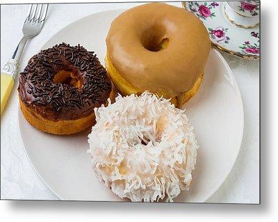 Three Donuts Metal Print by Garry Gay