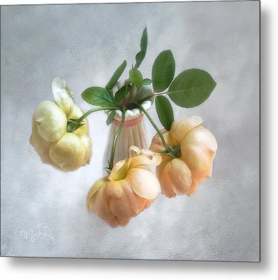 Metal Print featuring the photograph Three English Roses by Louise Kumpf