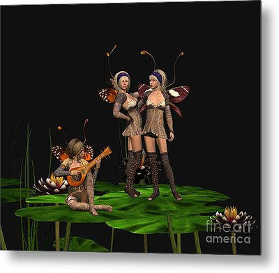 Three Fairies At A Pond Metal Print by John Junek