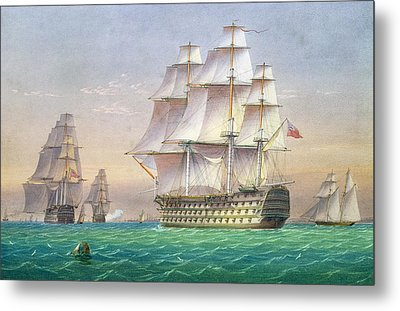 Three First Rate Ships Of The Line Entering Portsmouth Harbor Metal Print by William and John Joy