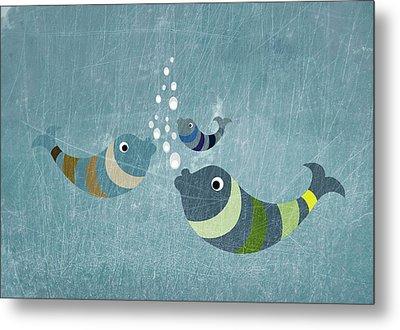Three Fish In Water Metal Print by Jutta Kuss