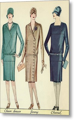 Three Flappers Modelling French Designer Outfits, 1928 Metal Print