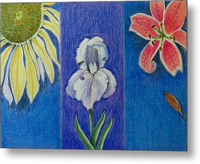 Three Flowers Metal Print by Patricia Januszkiewicz