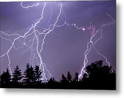 Three Frames Of Lightning Hitting Cedar Hills Area Metal Print by Utah-based Photographer Ryan Houston