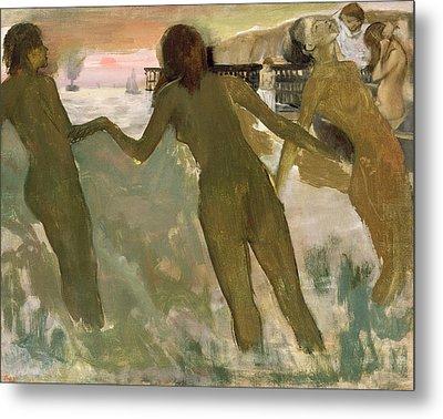Three Girls Bathing Metal Print by Edgar Degas