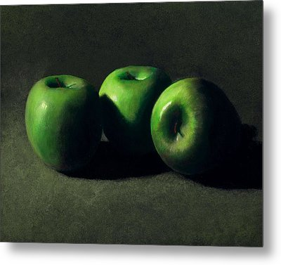 Three Green Apples Metal Print by Frank Wilson