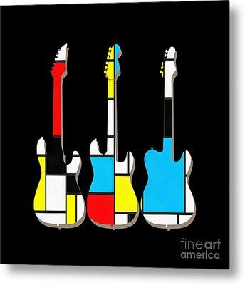Three Guitars Modern Tee Metal Print by Edward Fielding