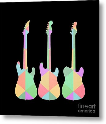 Three Guitars Triangles Tee Metal Print by Edward Fielding