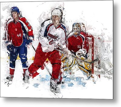 Three Hockey Players At The Goal Metal Print