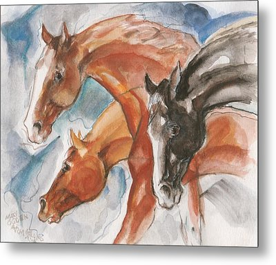 Three Horses Metal Print by Mary Armstrong