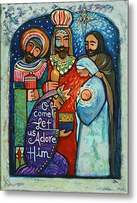 Three Kings O Come Let Us Adore Him Metal Print by Jen Norton