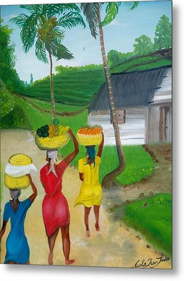 Three Ladies Going To The Marketplace Metal Print