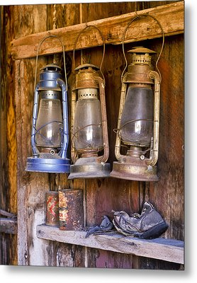 Three Lanterns And A Shoe Metal Print