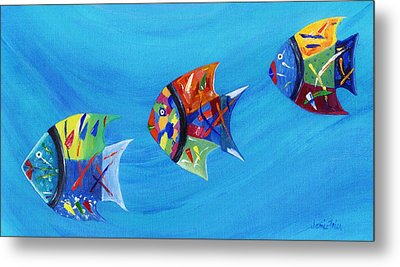 Metal Print featuring the painting Three Little Fishy's by Jamie Frier