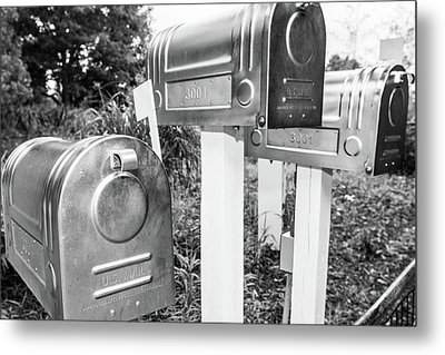 Three Mailboxes Metal Print